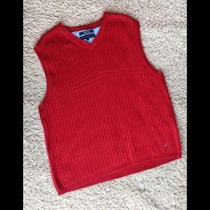 Tommy Hilfiger Men's Red Cotton Rib Knit Vest XL